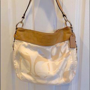 Coach Cream Satchel Shoulder Bag Clean